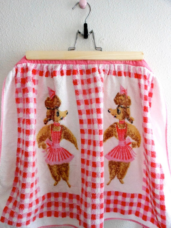 Terry Cloth Gingham & Poodle Half Apron