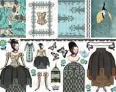 Renaissance Tudor Butterfly Girl ATC Collage Sheet Scrapbook Journal Clip Art Corset Dress Paper Doll Costume Altered Art