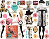 ART TEA LIFE Collage Sheet Biba Gypsy Girls 2 Journal Scrapbook atc paper doll parts pink scooter daisy crystal ball palmistry digital file