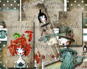 ART TEA LIFE Collage Sheet Playtime Dolls polka dots cards tags atc sized grounds invitations Scrapbook Journal Clip Art Digital File