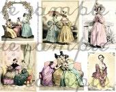 ART TEA LIFE Just The Lovely Girls Collage Sheet fashion cards scrapbook journal page clip art  Jane Austen Regency Digital File