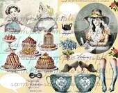 Digital Collage Sheet ART TEA LIFE Treat Tea Collage Sheet Jane Austen Pastry Cake Teacup decoupage scrapbook journal invitation card