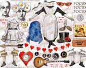 ART TEA LIFE True Love Digital File clip art atc card tag invitation steampunk journal decoupage paper altered art doll valentine guitar