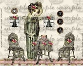 ART TEA LiFE Tea House Dolls Collage Sheet digital file clip art decoupage journal invitation scrapbook victorian austen fairy