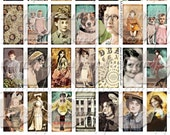 ART TEA LIFE Vintage Photo Domino Art Collage Sheet 1x2 inch clip art jewelry charm digital file victorian flapper jack russell