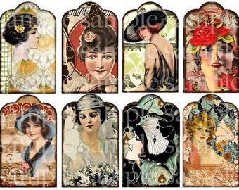 ART TEA LIFE Tag Ladies Collage Sheet Deco Flapper Girls Digital file Journal Scrapbook atc aceo Clip Art
