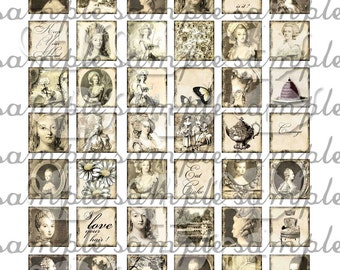 ART TEA LIFE Marie Antoinette Many Faces Tile Collection Collage Sheet Digital File inchies decoupage jewelry supply clip art charm pendant