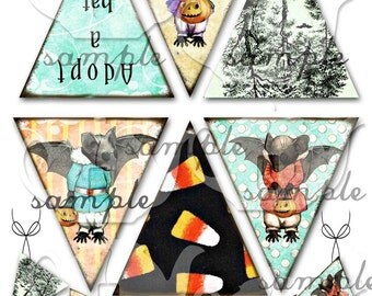 Art Tea Life BAT BANNER HALLOWEEN Collage Sheet bunting Digital File Scrapbook Party Decoration Office holiday clip art streamer candy corn