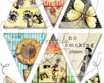 ART TEA LIFE Banner Rosy Thots Collage Sheet Digital File 4 inch flags office desk affirmations tea butterfly bicycle sunflower smoking