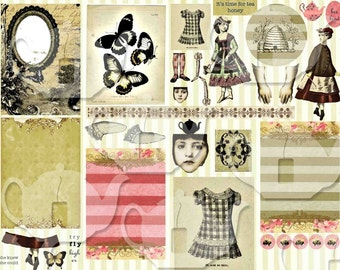 ART TEA LIFE Honey Tea Collage Sheet Digital File Scrapbook Journal Page atc clip art card grounds gift tags butterfly cards bee hive