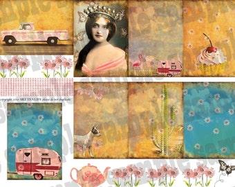 ART TEA LIFE Another Road Trip atc grounds Collage Sheet scrapbook journal tags card making digital file clip art