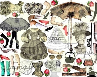 ART TEA LIFE Paper Dolls Digital Collage Sheet Journal Page Scrapbooking altered art doll parts clip art Digital File vintage fashion