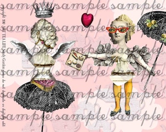 ART TEA LiFE Marie Antoinette Bust Collage Sheet digital file decoupage cut out journal invitation party scrapbook mechanical doll parts tag