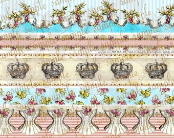 ART TEA LIFE Queens Border Strips Collage Sheet Digital File clip art band trim tag invitation journal decoupage scrapbook marie antoinette