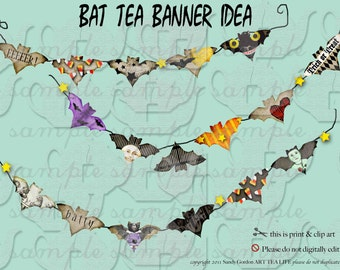 Bat Tea Sheet Digital Collage Sheet  File ART TEA LIFE clip art banner jewelry supply paper goods tags scrapbook journal party halloween
