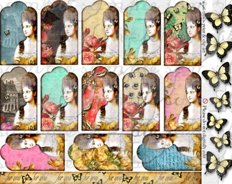 ART TEA LiFE Tag You're It collage sheet digital file clip art gift tags invitation party decoration Marie Antoinette butterflies