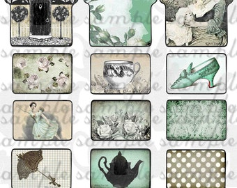 ART TEA LIFE Tag Along Houses 2 Collage Sheet Journal Page Scrapbooking gift tag card clip art Digital File tiles shabby chic charms