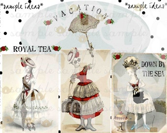 ART TEA LIFE Dancing Marie Collage Sheet Scrapbook Journal Digital File Antoinette tags cards invitations fashion altered art paper dolls