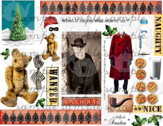 ART TEA LIFE Santa Collage Sheet Digital File Christmas St. Nick Saint Nicholas scrapbook decoupage journal page card making gift wrap tags party invitations favors paper goods altered art ATC ACEO teddy clip art holly tree hat cap border wanted poster