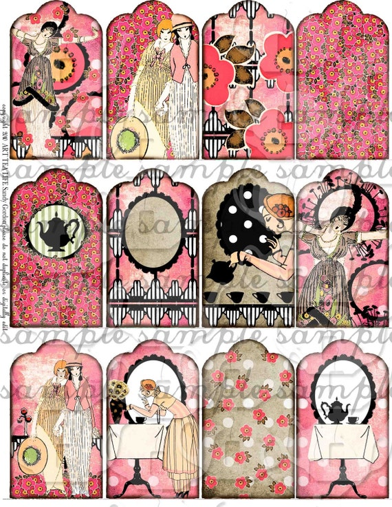ART TEA LiFE Art Deco Tea Love atc sized collage sheet digital file clip art printable download gift tags invitation flapper teapot pink