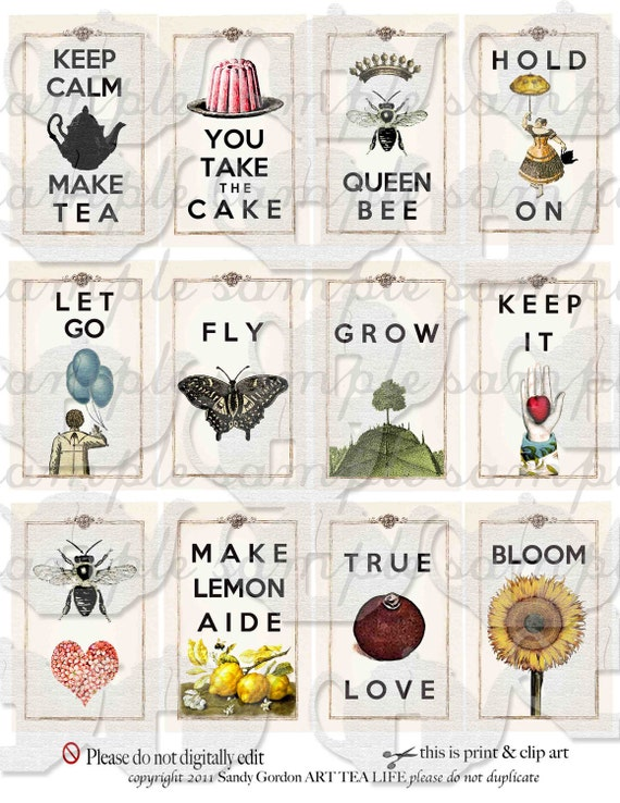 ART TEA LIFE Cards By The Dozen Collage Sheet digital file gift tag party favor jewelry supply magnet decoupage scrapbook affirmations