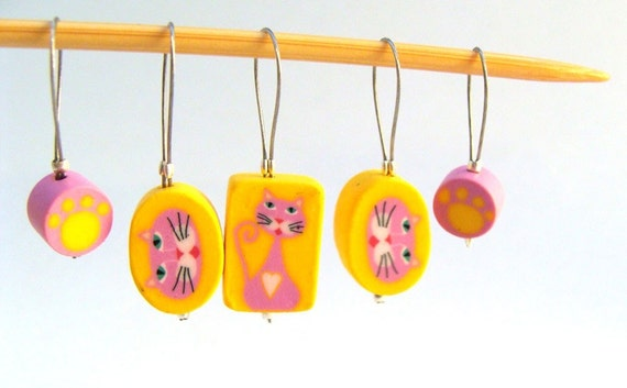Pink Kitty Stitch Markers - Stitch Markers