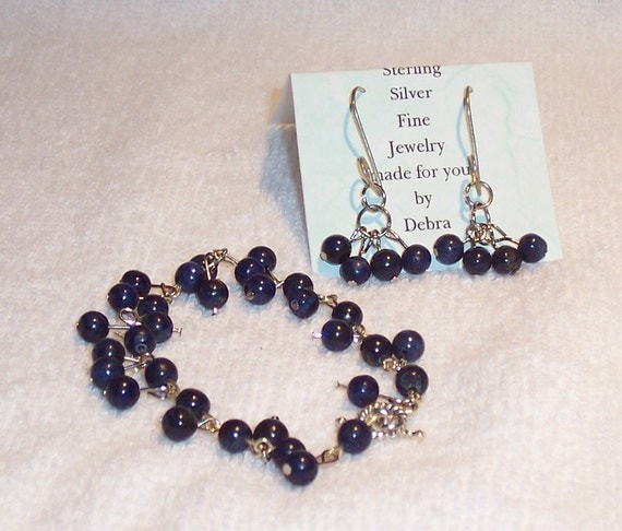 Lapis Lazuli Bracelet and Matching Earrings                  Free Shipping