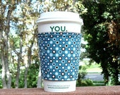 FREE SHIPPING UPGRADE with minimum -  Fabric coffee cozy / cup sleeve / coffee sleeve  -- Teal Turquoise Fun Dots