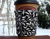 FREE SHIPPING UPGRADE with minimum -  Fabric coffee cozy / cup holder / coffee sleeve  -- Black with White Leaf Vines