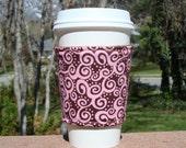 FREE SHIPPING UPGRADE with minimum -  Fabric coffee cozy / cup sleeve / coffee sleeve  -- Strawberry and Chocolate Swirl