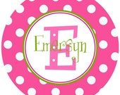 Personalized Initial and Name Pink and Green Melamine Plate or Bowl