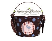 16 Quart Personalized Easter Pail Basket with Polka Dots