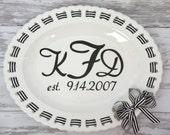 "personalized monogrammed 18"" oval ribbon decorative serving platter"
