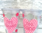 Pink Polka Dot Heart Acrylic Straw Tumbler - Personalized