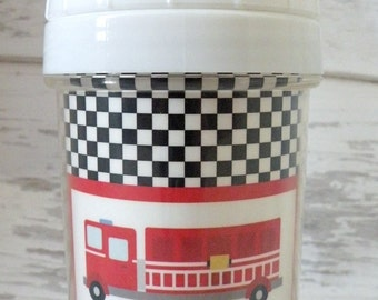 personalized FIRETRUCK spill proof sippy cup perfect for babies and toddlers