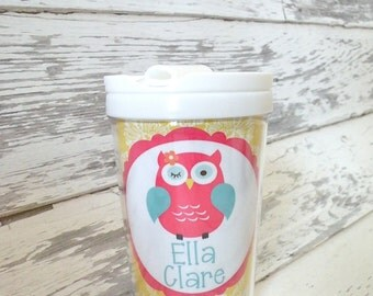 personalized PINK OWL everlasting toddler tumbler