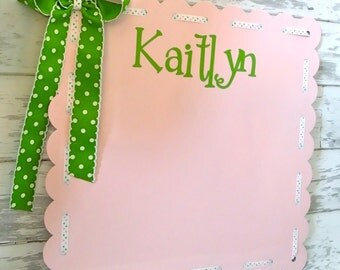large personalized decorative magnetic board in light pink