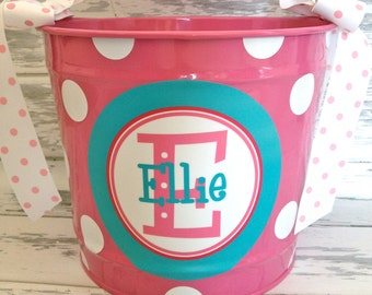 personalized bucket in turquoise and pinks- 10 quart size
