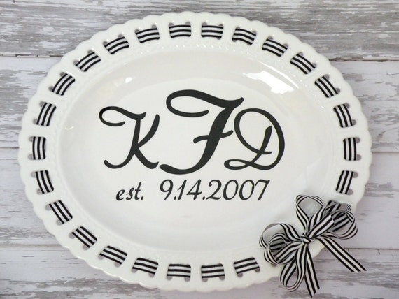 custom monogrammd 18 inch ribbon serving platter