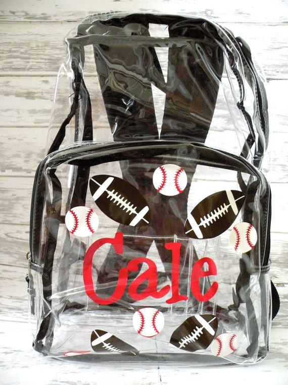 personalized clear backpack with black trim and sport design