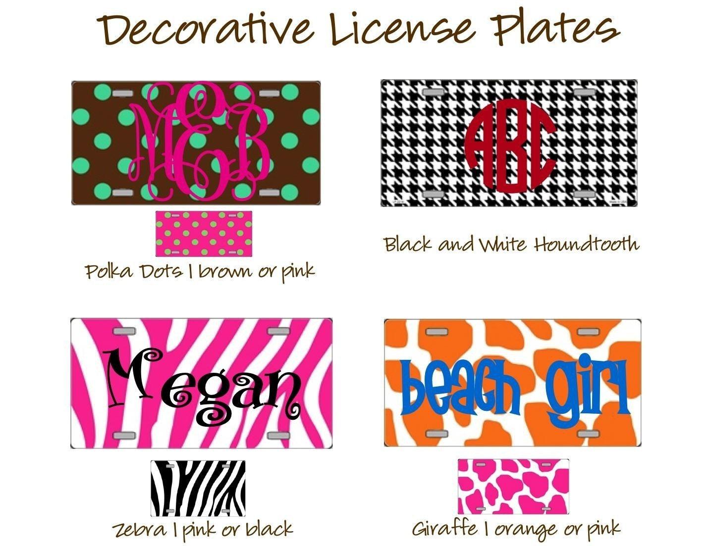 decorative personalized license plates