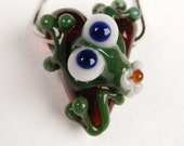 Lampwork Frog and Flower Heart Pendant Bead Valentines By Jacquelyn Rice