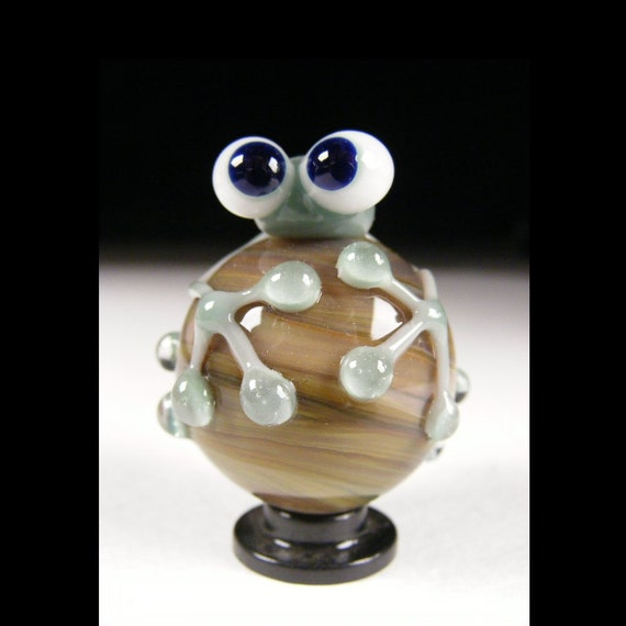 Marble Handmade Lampwork Glass Frog By Jacquelyn Rice