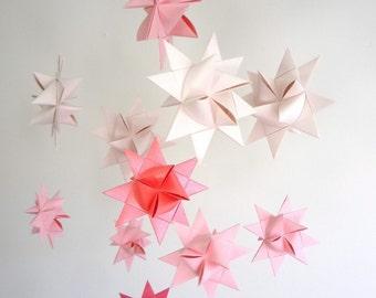 Baby Nursery Crib Mobile Origami Stars -'Ursa Major' Soft Pinks