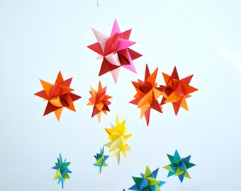 Baby Mobile Hanging Origami Stars -'Ursa Major' Rainbow