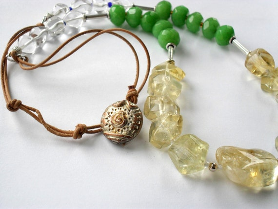Citrine Green Stone Leather Long Necklace