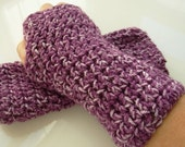 Hand Crocheted Purple Mist Fingerless Gloves Mittens Arm Warmers Texting Gloves