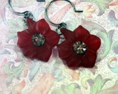 Satin Ties Sassy Red Bloom Dangle Earrings Gunmetal Gray Vintage Swarovski Rhinestones Shipping No where in Sight