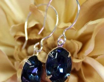 Midnight Ice Swarovski Blue Crystals In Sterling Silver Earrings Vintage Rhinestones