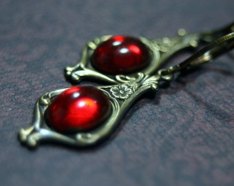 Gothic Vampire Rose Earrings Blood Red Vintage Cabochon Antique Brass by Shadesongs